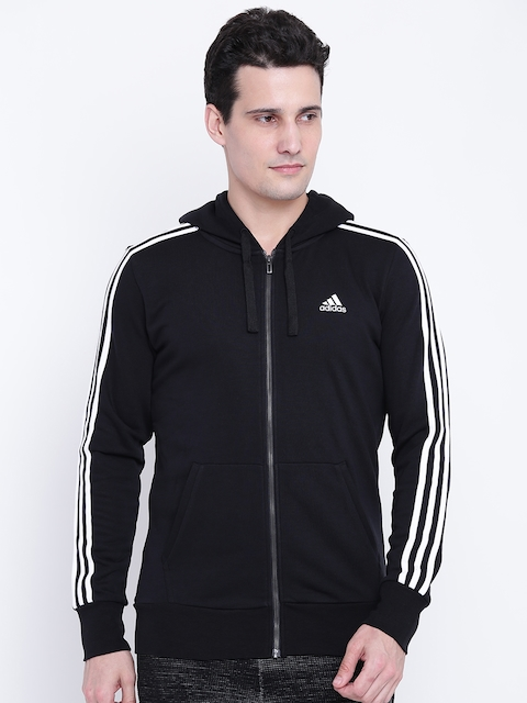 Adidas Men Black ESS 3S FZ FT Solid Hooded Bomber Jacket