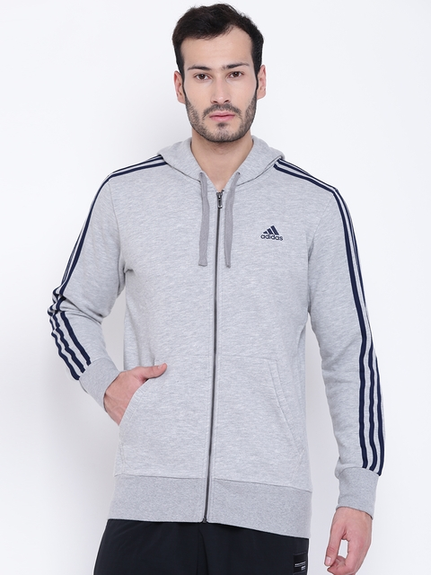 Adidas Men Grey Melange ESS 3S FZ FT Solid Hooded Sweatshirt