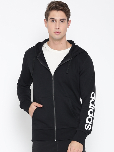 Adidas Men Black ESS LIN FZ Hooded Sweatshirt