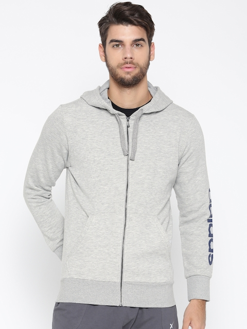 Adidas Men Grey Melange ESS LIN FZ FT Hooded Sweatshirt