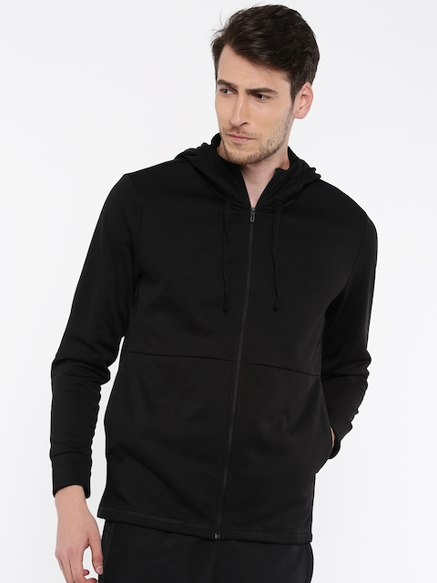 Adidas Men Black Solid WORKOUT FZ LITE Hooded Sweatshirt