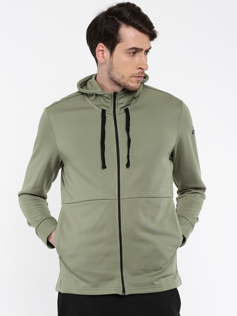 Adidas Men Olive Green Solid WORKOUT FZ LITE Hooded Sweatshirt