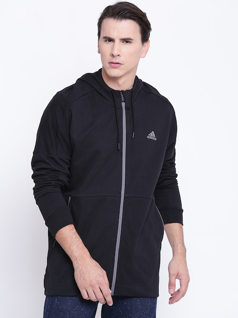 ADIDAS Men Black ID ELONGATED FullZip Solid Hooded Sweatshirt