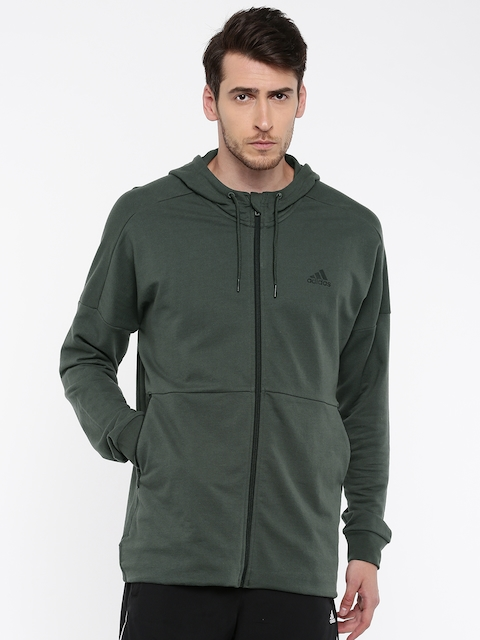ADIDAS Men Green Solid ID ELONGATED FZ Hooded Sweatshirt