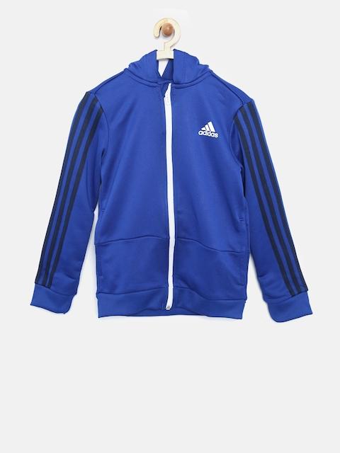 Adidas Boys Blue Solid Hooded Sweatshirt