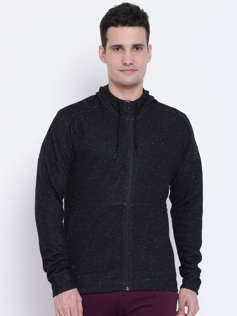 Adidas Men Black ID STADIUM FZ Solid Hooded Sweatshirt