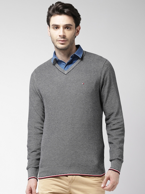 Tommy Hilfiger Men Blue Self Design Pullover