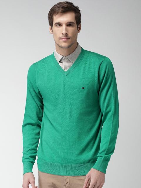 Tommy Hilfiger Men Green Solid Sweater