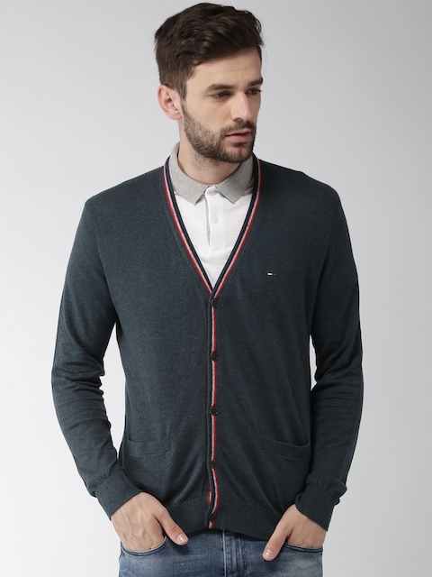 Tommy Hilfiger Men Blue Solid Cardigan Sweater