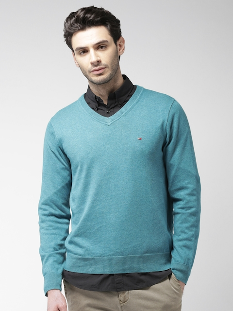 Tommy Hilfiger Men Blue Solid Pullover