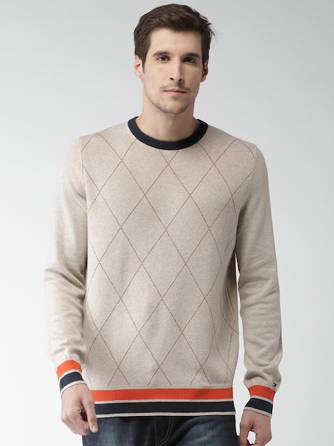 Tommy Hilfiger Men Beige Self Design Pullover