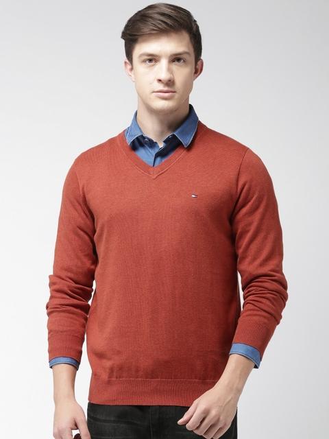 Tommy Hilfiger Men Rust Orange Solid Pullover