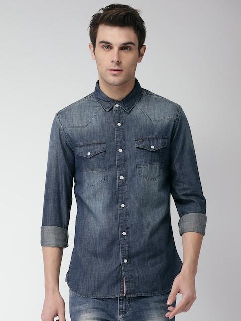 Tommy Hilfiger Men Blue Slim Fit Solid Denim Casual Shirt