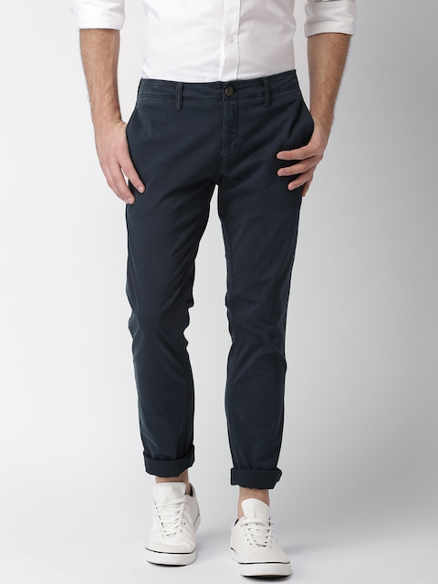 Tommy Hilfiger Men Navy Blue Smart Slim Fit Solid Regular Trousers