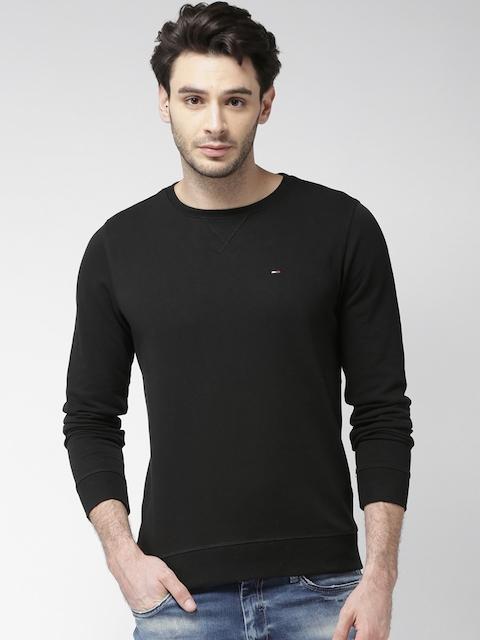 Tommy Hilfiger Men Black Solid Sweatshirt