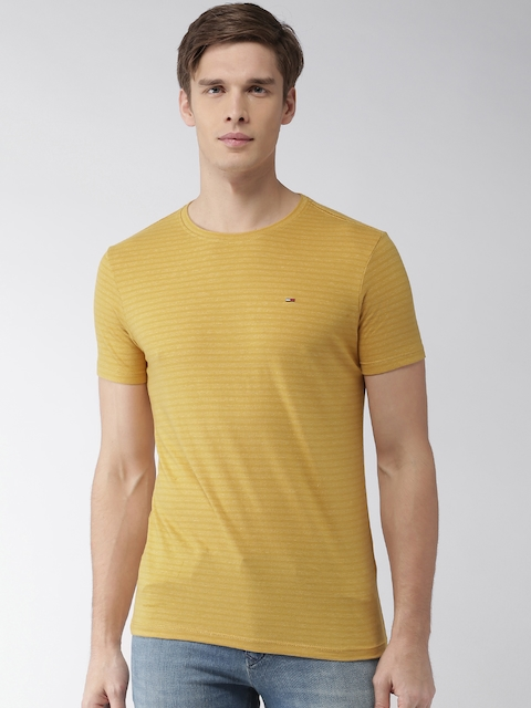 Tommy Hilfiger Men Mustard Yellow Striped Round Neck T-shirt