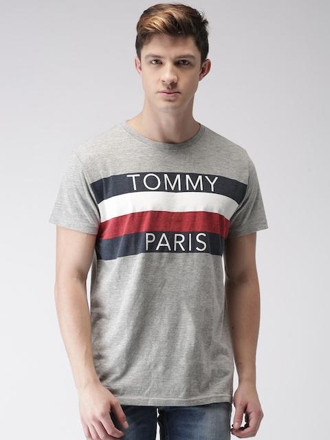 Tommy Hilfiger Men Grey Melange Printed Round Neck T-shirt