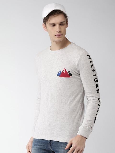 Tommy Hilfiger Men Grey Melange Printed T-shirt