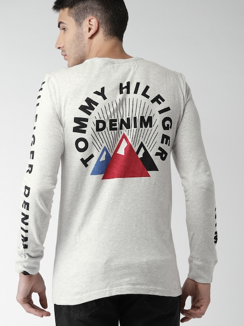 Tommy Hilfiger Men Grey Melange Printed T-shirt
