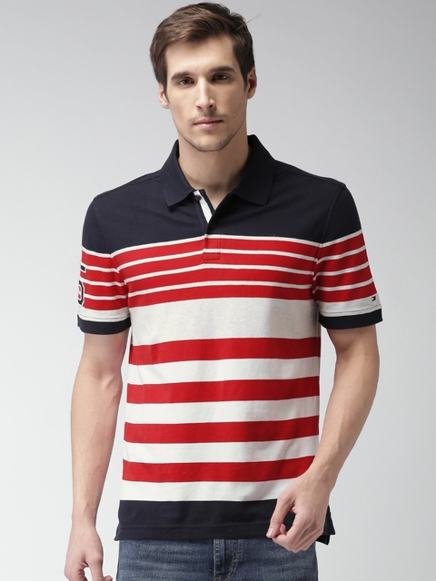 Tommy Hilfiger Men Navy & Red Striped Polo T-shirt