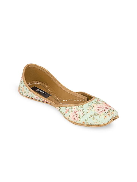 Coral Haze Women Turquoise Blue Printed Synthetic Juttis