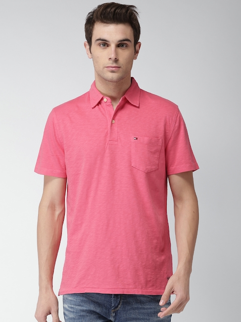 Tommy Hilfiger Men Pink Solid Custom Fit Polo Collar T-shirt