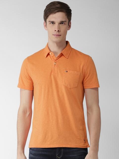 Tommy Hilfiger Men Orange Solid Polo T-shirt