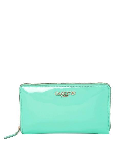 Carlton London Women Sea Green Solid Zip-Around Wallet