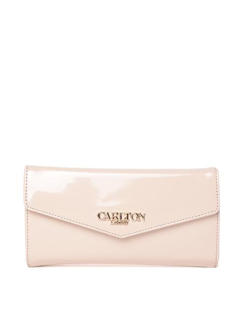 Carlton London Women Beige Solid Two Fold Wallet