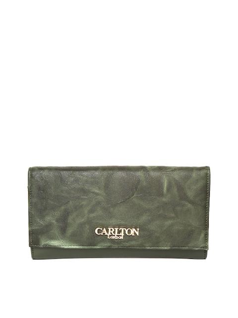 Carlton London Women Olive Green Solid Two Fold Wallet