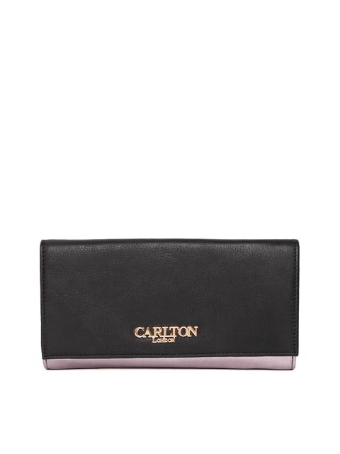Carlton London Women Black & Gunmetal-Toned Colourblocked Two Fold Wallet