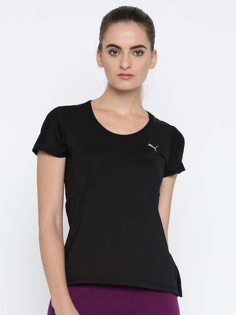 Puma Women Black Solid Round Neck Layer T-shirt