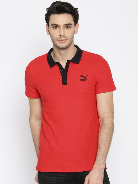 Puma Men Red Archive Logo Polo T-shirt