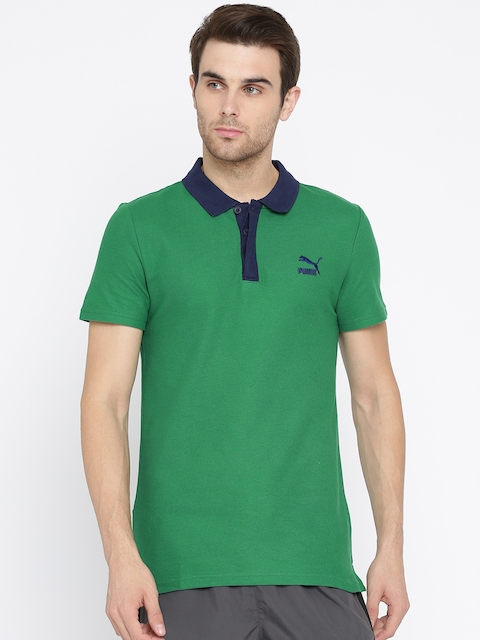 Puma Men Green Solid Archive Logo Polo Collar T-shirt