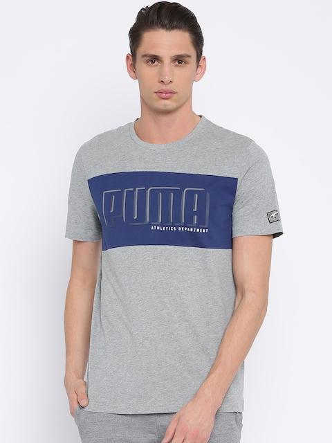 Puma Men Grey Printed Round Neck T-shirt
