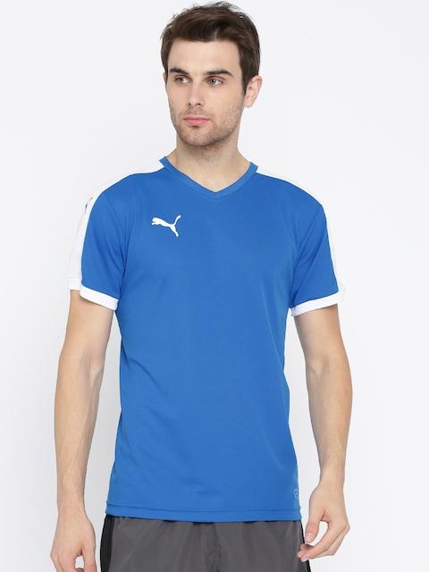 Puma Men Blue Solid V-Neck T-Shirt