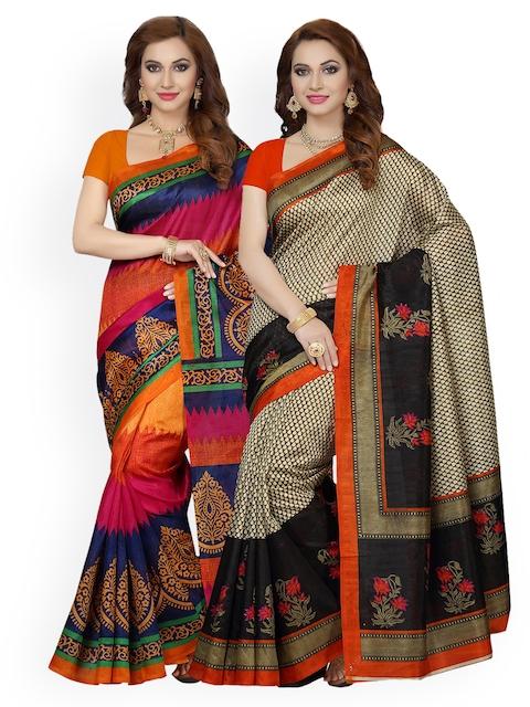 Ishin Selection of 2 Beige & Orange Art Silk Woven Design Sarees