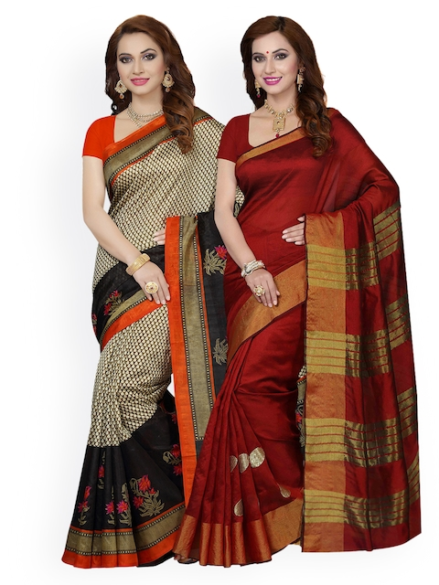 Ishin Selection of 2 Beige & Maroon Art Silk Woven Design Sarees