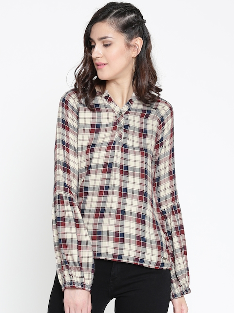 Roadster Women Beige & Maroon Checked Shirt Style Top