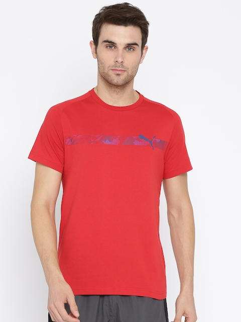 Puma Men Red Slim Fit Printed Round Neck Active Hero Raglan T-shirt