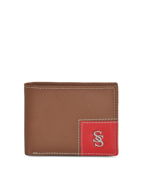 Second SKIN Men Tan brown Solid Two-Fold Genuine Leather Wallet