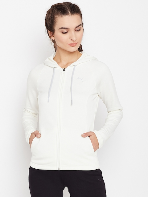 Puma Women Off-White Classic Solid Hooded Sweatshirt