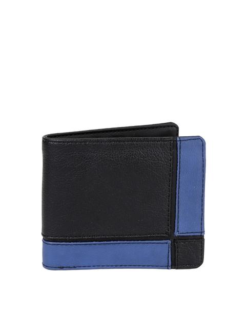 Baggit Men Black & Blue Colourblocked Two Fold Wallet