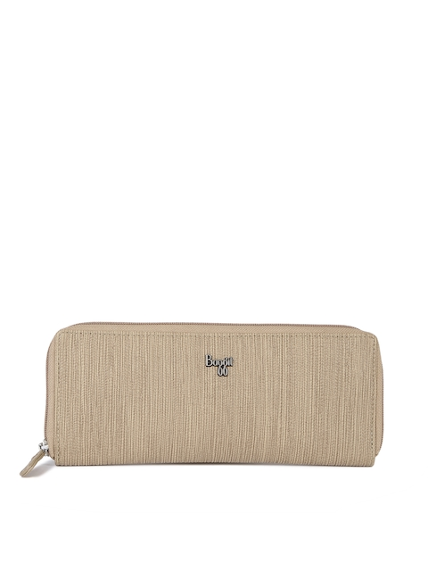 Baggit Women Beige Textured Zip Around Wallet  available at myntra for Rs.1175