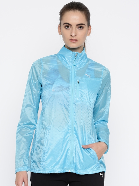 Puma Women Blue Solid Windcheater and Water Resistant Lite Sporty Jacket