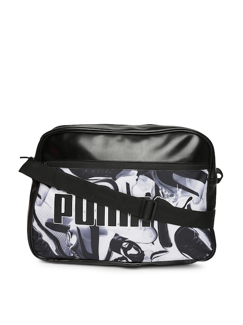 Puma Unisex Black & White Printed Campus Reporter Laptop Bag