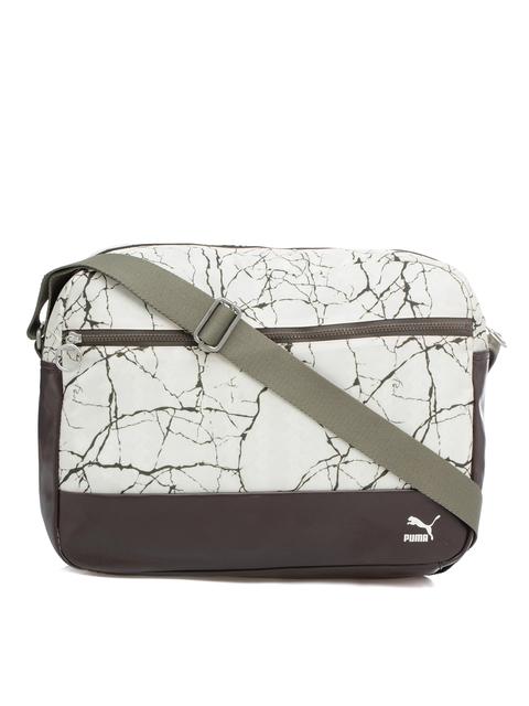 59d48080b48b Puma Unisex Off-White   Grey Printed Originals Reporter Messenger Bag
