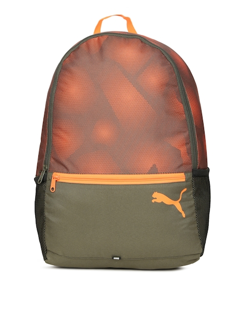 Puma Unisex Olive Green & Orange Alpha Graphic Backpack