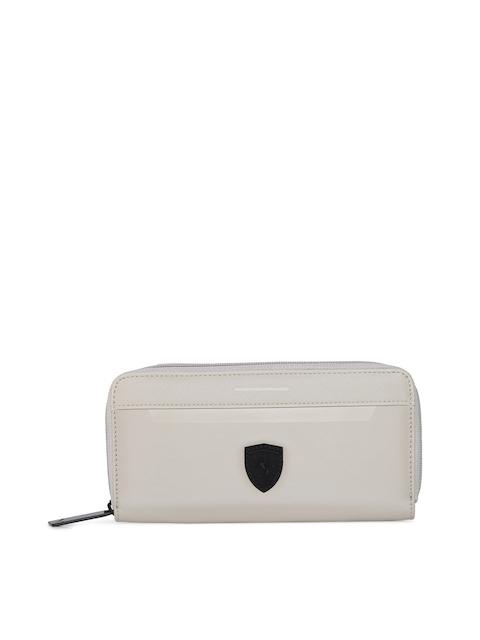 Puma Women Off-White Solid Zip Around Wallet