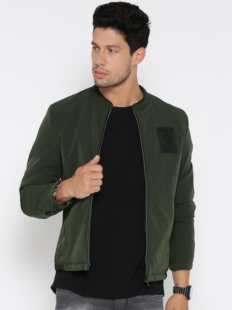 Fort Collins Men Olive Green Solid Bomber Jacket